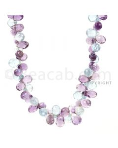1 Line - Purple Amethyst Faceted Drop Beads - 177.5 cts - 6.1 x 4.5 mm to 9.8 x 5.7 mm (AMDR1001)