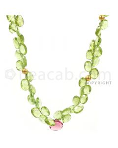 1 Line - Green Peridot Faceted Drops - 159 cts - 7.2 x 7.1 to 9.3 x 9.6 mm (PDR1040)