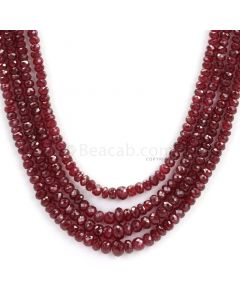 4 Lines - Dark Red Faceted Ruby Beads - 250.76 - 2 to 5.3 mm (RFB1094)