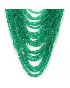 20 Lines - Medium Green Emerald Faceted Beads - 906.04 - 2.3 to 6.5 mm (EMFB1067)
