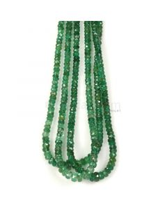 3 Lines - Medium Green Emerald Faceted Beads - 87.20 - 2.2 to 4.6 mm (EMFB1096)