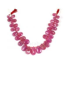 1 Line - Medium Red Ruby Faceted Drops - 79.50 cts - 4.5 x 7.4 mm to 9.3 x 13.9 mm (RDR1056)