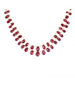 2 Lines - Dark Red Ruby Faceted Drops - 53.00 cts - 4 x 6.1 mm to 6.7 x 10 mm (RDR1059)