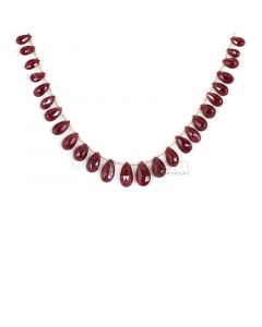 3 Lines - Dark Red Ruby Faceted Drops - 62.43 cts - 5 x 7.8 mm to 7.7 x 13.2 mm (RDR1053)