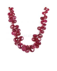 1 Line - Dark Red Ruby Faceted Drops - 74.85 cts - 4.5 x 7 to 8.3 x 12.7 mm (RDR1061)