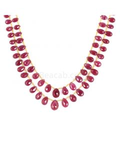 2 Lines - Medium Red Ruby Faceted Drops - 100.50 cts - 3.9 x 6 mm to 7.5 x 10.5 mm (RDR1045)