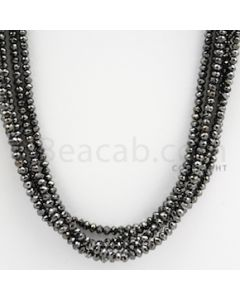 2.20 to 3.20 mm - Black Diamond Faceted Beads - 153.35 carats - 15 inches (BDia1013)