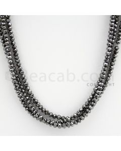 2.50 to 3.50 mm - Black Diamond Faceted Beads - 64.85 carats - 15 inches (BDia1015)