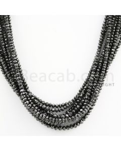 2.70 to 3.20 mm - Black Diamond Faceted Beads - 253.15 carats - 15 inches (BDia1016)