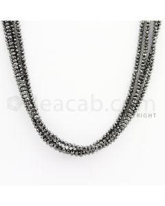 1.60 to 2.50 mm - Black Diamond Faceted Beads - 58.50 carats - 15 inches (BDia1018)