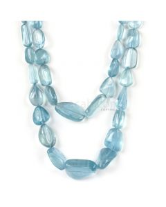 2 Lines - Medium Blue Aqua Tumbled Beads - 713.50 cts - 10.8 x 8.2 mm to 29.4 x 21 mm (AQTUB1028)