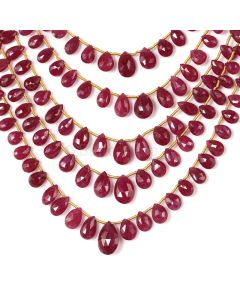5 Lines - Medium Red Ruby Faceted Drops - 228.50 cts - 4.6 x 3.8 mm to 13.7 x 8.6 mm (RDR1067)