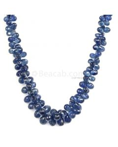 1 Line - Dark Blue Sapphire Faceted Drops - 99.50 cts - 3.9 x 2.3 mm to 5.8 x 3.7 mm (SDR1029)
