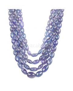 4 Lines - Violet Tanzanite Tumbled Beads - 591.71 cts - 6.4 x 5.3 mm to 15.2 x 11.5 mm (TZTUB1021)