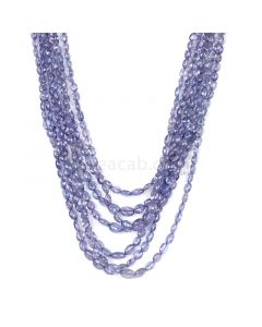 7 Lines - Violet Tanzanite Tumbled Beads - 310.25 cts - 3.5 x 3.1 mm to 6.8 x 5.2 mm (TZTUB1045)