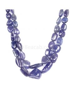 2 Lines - Violet Tanzanite Tumbled Beads - 432.13 cts - 8.1 x 6.1 mm to 20 x 16.3 mm (TZTUB1044)
