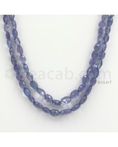 4.00 to 8.00 mm - Tanzanite Faceted Tumbled Beads - 129.15 carats - 20 to 21 inches (TzFTuB1011)