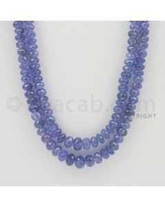 5.50 to 8.00 mm - 2 Lines - Tanzanite Faceted Beads - 21 to 22 inches (TzFB1006)