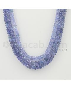 4.00 to 6.00 mm - 3 Lines - Tanzanite Faceted Beads - 17 to 18 inches (TzFB1013)