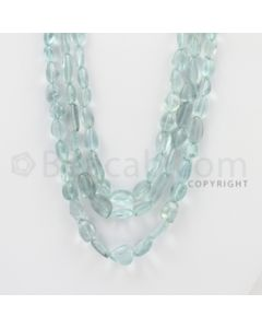 7.00 to 12.00 mm - Aquamarine Tumbled Beads - 323.00 Carats - 3 Lines (AqTuB1023)
