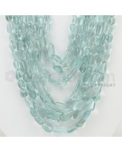 9.00 to 17.00 mm - Aquamarine Tumbled Beads - 1089.00 Carats - 7 Lines (AqTuB1025)