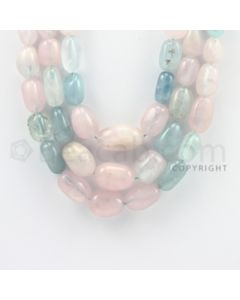 7.00 to 20.00 mm - Aquamarine, Morganite Tumbled Beads - 1020.45 Carats - 3 Lines (MAqTuB1001)