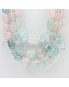 9.00 to 21.00 mm - Aquamarine, Morganite Tumbled Beads - 1207.00 Carats - 3 Lines (MAqTuB1002)