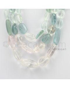 13.00 to 29.00 mm - Aquamarine, Morganite Tumbled Beads - 1004.63 Carats - 3 Lines (MAqTuB1003)