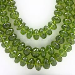 6.80 to 13.00 mm - 3 Lines - Peridot Faceted Roundel Beads - 24 to 26 inches (PFRo1001)
