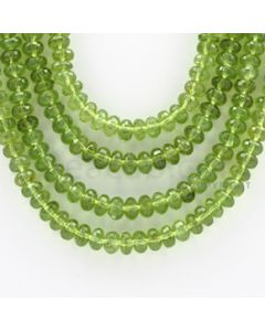 6.50 to 7.50 mm - 4 Lines - Peridot Faceted Roundel Beads - 19 to 21 inches (PFRo1003)