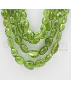 7.50 to 14.50 mm - 4 Lines - Peridot Smooth Tumbled Beads - 20 to 23 inches (PSTu1003)