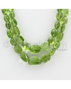 6.50 to 16.00 mm - 2 Lines - Peridot Smooth Tumbled Beads - 19 to 20 inches (PSTu1006)