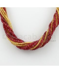 2.50 to 4.50 mm - 10 Lines - Spinel and Yellow Sapphire Faceted Beads Necklace - 17.50 inches (CSNKL1042)