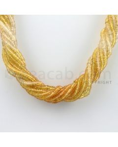 3.00 to 4.00 mm - 10 Lines - Yellow Sapphire, White Sapphire Smooth Beads Necklace - 17.75 inches (CSNKL1045)