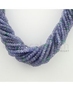 3.50 to 5.50 mm - 15 Lines - Tanzanite, Emerald Faceted Beads Necklace - 17.50 inches (CSNKL1052)
