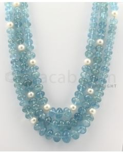6.50 to 14.50 mm - 3 Lines - Aquamarine and Cultured Pearl Beads Necklace - 16 to 18 inches (CSNKL1060)