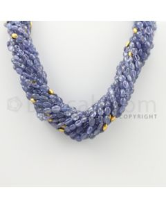 6.00 to 17.50 mm - 14 Lines - Tanzanite Plain Oval Beads Necklace - 17 inches (CSNKL1061)