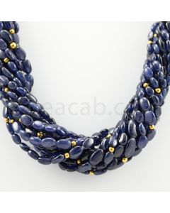 4.50 to 13.50 mm - 12 Lines - Blue Sapphire Tumbled Beads Necklace - 17 inches (CSNKL1064)