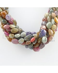 7.50 to 15.50 mm - 9 Lines - Multi-Sapphire Tumbled Beads Necklace - 17.50 inches (CSNKL1067)