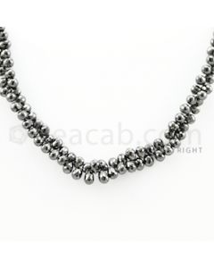 4.50 to 6.50 mm - 1 Line - Black Diamond Drop Beads - 13 inches (DiaDrp1024)