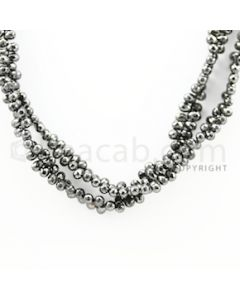 3.50 to 4.00 mm - 2 Lines - Black Diamond Drop Beads - 16 inches (DiaDrp1023)