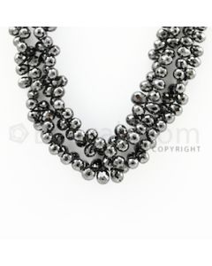 5.30 to 8.00 mm - 2 Lines - Black Diamond Drop Beads - 14 inches (DiaDrp1022)