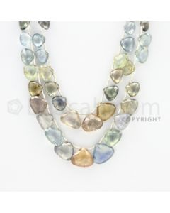 5.00 to 10.00 mm - 2 Lines - Multi-Sapphire Pear Drops - 19 to 20 inches (MSPD1005)