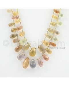 5.40 to 14.00 mm - 2 Lines - Multi-Sapphire Pear Drops - 15 inches (MSPD1011)