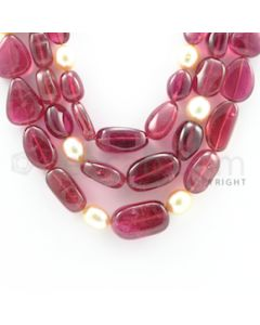 10.50 to 24.00 mm - 3 Lines - Tourmaline Tumbled Beads Necklace - 16 to 20 inches (CSNKL1077)