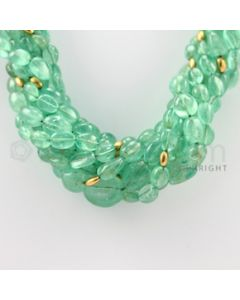 7.50 to 17.50 mm - 9 Lines - Emerald Tumbled Beads Necklace - 18 inches (CSNKL1081)