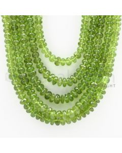 7.00 to 10.00 mm - 5 Lines - Peridot Faceted Beads - 19 to 20 inches (PFRo1005)