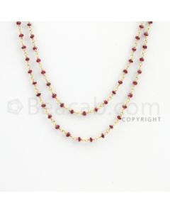 2.20 to 2.70 mm - 1 Line - Ruby Faceted Beads Gold Wire Wrap Necklace - 40 inches (GWWCS1104)