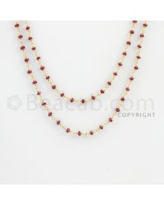 2.00 to 2.70 mm - 1 Line - Ruby Faceted Beads Gold Wire Wrap Necklace - 40 inches (GWWCS1105)