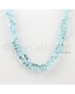 6.50 mm - 1 Line - Blue Topaz Drop Beads - 16 inches (BT1003)